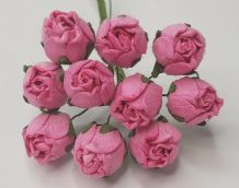 15mm PINK HIP ROSE BUDS (L) Mulberry Paper Flowers
